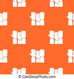 Different people hands raised up pattern seamless