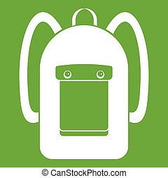 Backpack icon green - Backpack icon white isolated on green...