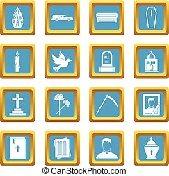 Funeral icons azure - Funeral icons set in azur color...