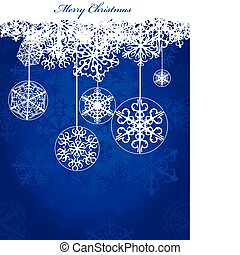 Christmas blue background with snowflakes - Winter and...