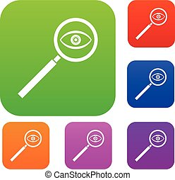 Magnifying glass set collection - Magnifying glass set icon...