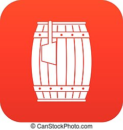 Wooden barrel with ladle icon digital red