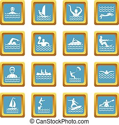 Water sport icons azure - Water sport icons set in azur...