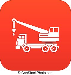 Truck crane icon digital red for any design isolated on...