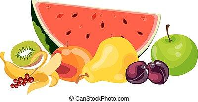 Juicy fruit and berries