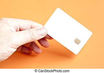 smart card - A man holding a blank smart card