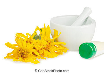 Arnica with tube - Arnica blossoms with mortar and cream...