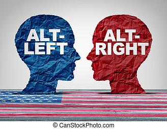 Alt-Right And Altleft - Alt right or altleft concept as a...