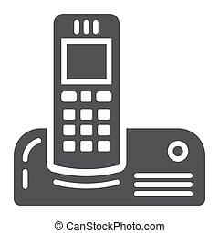 Wireless telephone solid icon, household appliance -...