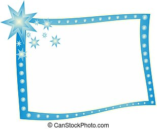 Blue frame - Beautiful blue frame with beads and stars