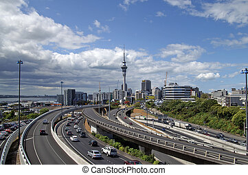 Rush hour in Auckland, New Zealand - Late afternoon traffic...