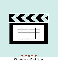 Cinema clapper  set  it is color icon .