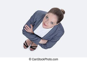 向上。, 婦女 事務, concept., 看, top., 看法