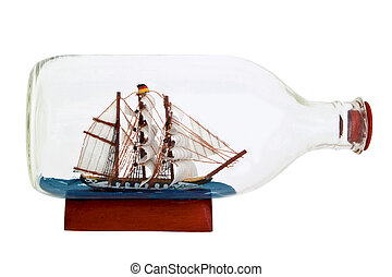 Little ship in a bottle - Model of a sailing ship in a...
