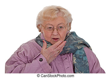 Cough - Elderly woman coughing - isolated on white