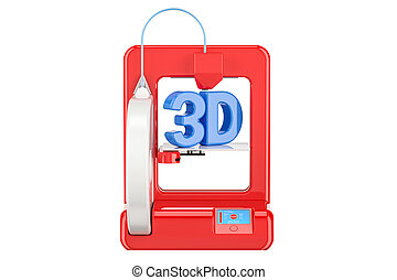 Modern red 3D printer, 3D rendering isolated on white...