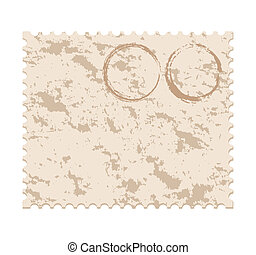 grunge post stamp - vector illustration of an old blank...