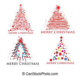 Christmas colorful design - Christmas tree set design...