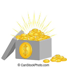 box with the coins isolated on whit - vector illustration of...