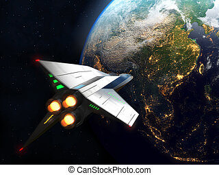 Spaceship arrives to Earth. Elements of this image furnished...