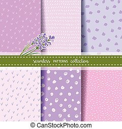 Set of six hand drawn seamless patterns for Lavender theme design.