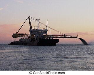 Dredger - dredger, water, sea, ocean, deepen, deep, sky,...