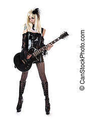 Sexy guitar girl, isolated on white background