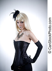 Young woman in black corset - Young woman in black corset,...