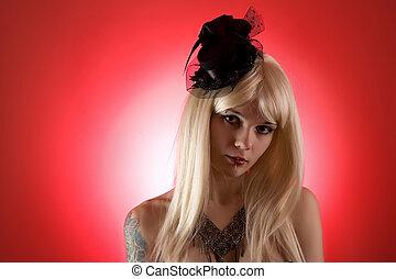 Portrait of cabaret girl in mini top hat