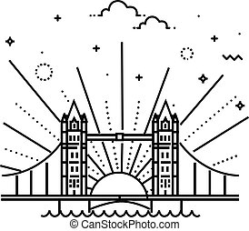 Vector Illustration of Tower bridge Icon Outline - London...
