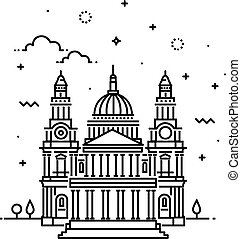 Vector Illustration of Cathedral Icon Outline - Travel...