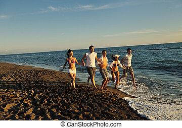 浜, ラニング, グループ, 人々