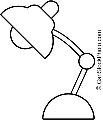 Table lamp icon, outline line style - Table lamp icon....