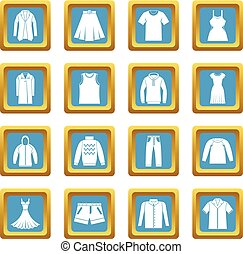 Different clothes icons azure