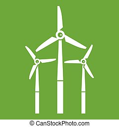 Windmill icon green - Windmill icon white isolated on green...