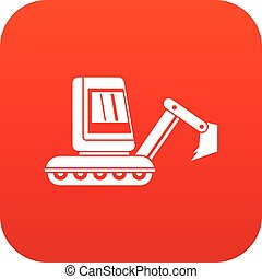 Mini excavator icon digital red for any design isolated on...