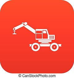 Crane truck icon digital red for any design isolated on...