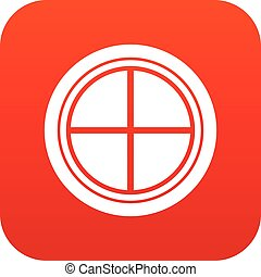 White round window icon digital red for any design isolated...