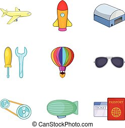 Dirigible icons set, cartoon style