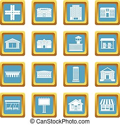 City infrastructure items icons azure - City infrastructure...