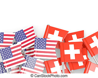 Flag pins of USA and Switzerland isolated on white. 3D illustration