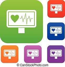 Heartbeat set collection - Heartbeat set icon in different...