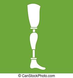 Prosthesis leg icon green - Prosthesis leg icon white...