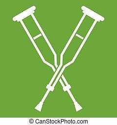 Crutches icon green - Crutches icon white isolated on green...