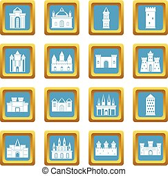 Towers and castles icons azure - Towers and castles icons...