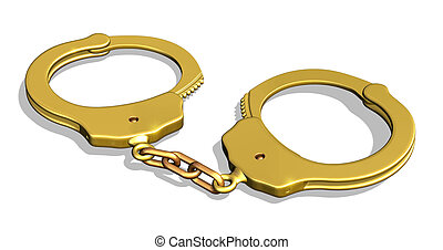 Golden Handcuffs - 3D render of golden handcuffs - I had...