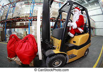 santa claus forklift in warehouse - Santa Claus as a...