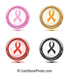 set of support ribbon icons