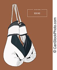Vintage Boxing Gloves Hanging  sketch vector.