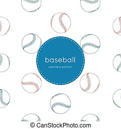 A collection of illustrated baseball elements seamless pattern.